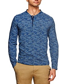 Tallia Men's Slim Fit Texture Print Long Sleeve Henley and a Free Face Mask With Purchase