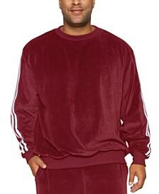 Mvp Collections Men's Big and Tall Velour Stripe Sweatshirt
