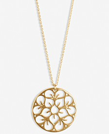 "Gold-Tone Pavé Openwork Flower Coin Long Pendant Necklace, 31"" + 2"" extender"