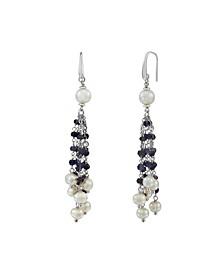 Cultured Freshwater Pearl (6-8mm) and Iolite Tassel Earrings in Sterling Silver