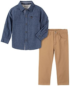 Little Boys Tonal Check Woven Shirt with Pant, 2 Piece Set