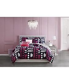 Words Reversible Comforter Set, 6 Piece, Full/Queen