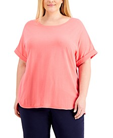 Plus Size Cuffed-Sleeve T-Shirt, Created for Macy's