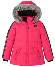 Big Girls Logo Sleeve Puffer Jacket