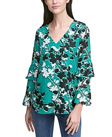 Printed Clipped Dot Tiered-Sleeve Top