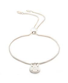Sterling Silver and Diamond Padlock Slider Bracelet