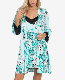 2-Pc. Printed Chemise & Wrap Robe Set