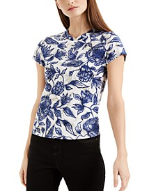 INC Petite Cotton Floral-Print T-Shirt, Created for Macy's