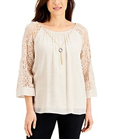 Lace-Sleeve Necklace Top, Created for Macy's