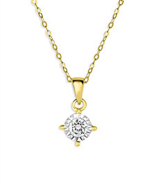 TruMiracle® Diamond Solitaire Pendant Necklace (3/8 ct. t.w.) in 14k Yellow Gold