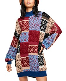 Patched Argyle Sweater Dress