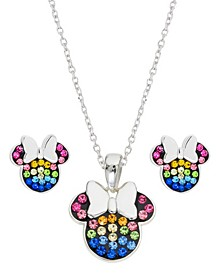 Children's 2-Pc. Set Crystal Multicolor Minnie Mouse Pendant Necklace and Stud Earrings in Sterling Silver
