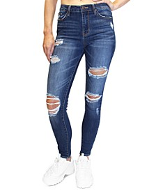 Juniors' Distressed High Rise Skinny Jeans