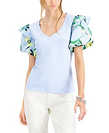 INC Plus Size Printed-Sleeve T-Shirt, Created for Macy's