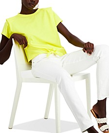 INC Cotton Bold Shoulder Tie-Front Top, Created for Macy's