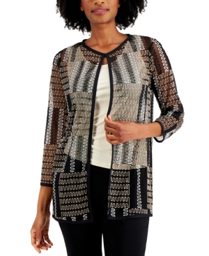 Open-Front Embroidered Mesh Jacket