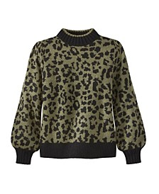 Women's Leopard Puff Shoulder Sweater