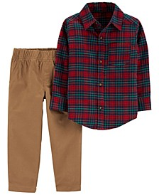 Toddler Boys Plaid Button-Front and Canvas Pant Set, 2 Piece