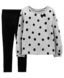 Big Girls 2-Piece Polka Dot Fleece Top and Legging Set