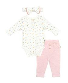 Rabbit + Bear 100% Organic Cotton 3 piece Long Sleeve Bodysuit ,Pants, and Headband Set