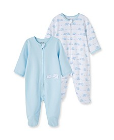 Baby Boys 100% Organic Cotton Elephant 2 Pack Footie