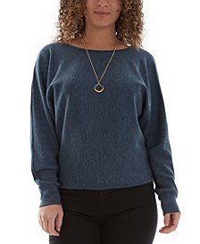 Juniors' Dolman-Sleeve Sweater & Necklace