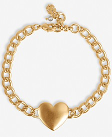 Gold-Tone Heart Link Bracelet