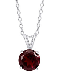 """Rhodolite Garnet Solitaire 18"""" Pendant Necklace (1-5/8 ct. t.w.) in Sterling Silver"""
