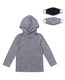 Toddler Boys Long Sleeve Solid Hoodie with Matching Face Mask