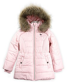 Little Girls Puffer Jacket With Faux-Fur Hood