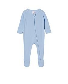 Baby Boys Organic Newborn Zip Through Romper