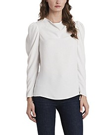 Women's Long Sleeve Puff Shoulder Blouse