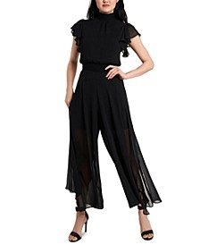 Smocked-Trim Chiffon Jumpsuit