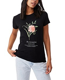 Women's Classic Birthday Flower Graphic T-shirt