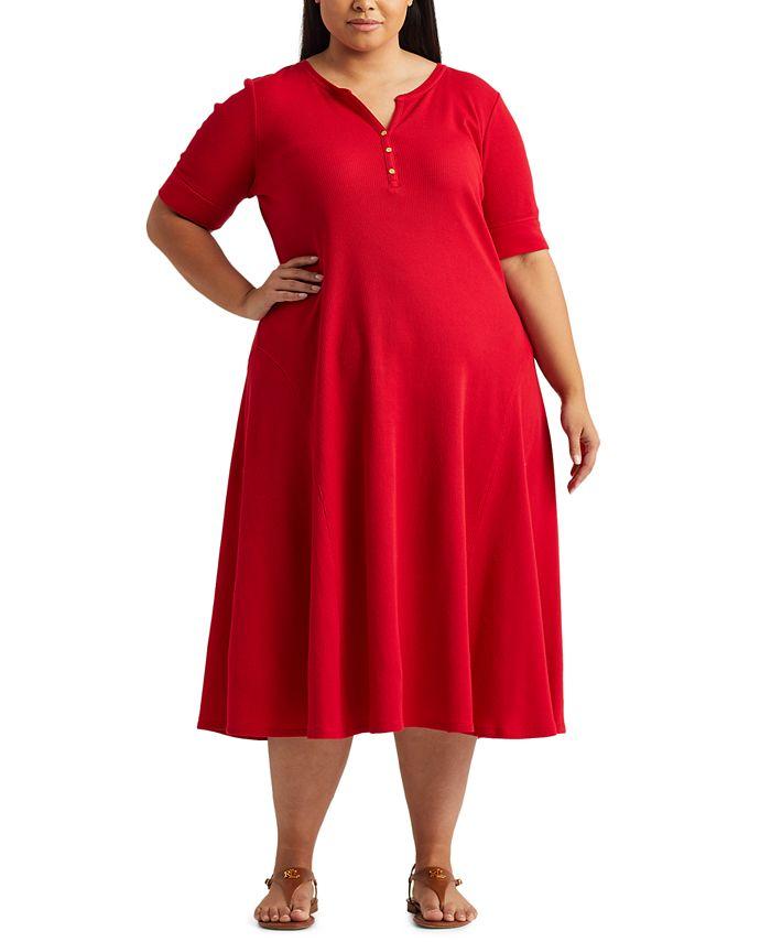 Lauren Ralph Lauren - Plus Size Cotton Fit & Flare Dress