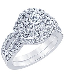 Diamond Halo Bridal Set (1 1/6 ct. t.w.) in 14K White Gold