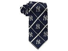 New York Yankees Silver Line Woven Silk Tie