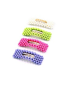 Neon and Imitation Pearl Beaded Hair Clips, Set of 4