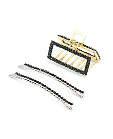 Crystal Statement Bobby Pin and All Sparkle Rectangular Hair Jaw, Set of 2