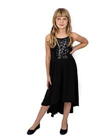 Big Girls Sequin Top with Hi Lo Skirt Dress