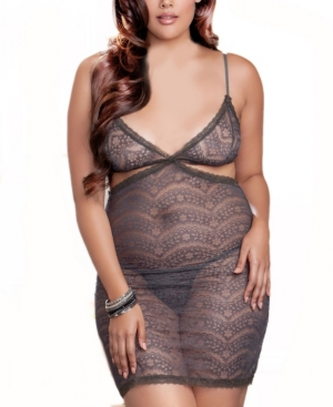 Icollection WOMEN'S PLUS SIZE CUT AWAY SOFT STRETCH LACE CHEMISE SET