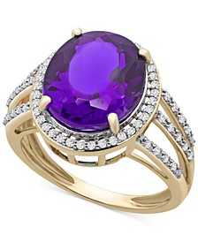 Amethyst (4-1/2 ct. t.w.) & Diamond (1/4 ct. t.w.) Statement Ring in 14k Gold (Also Available in Blue Topaz)