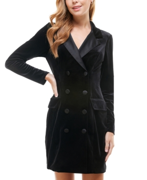 Juniors' Velvet Tuxedo Blazer Dress