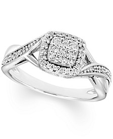 Diamond Square Cluster Ring (1/5 ct. t.w.) In Sterling Silver