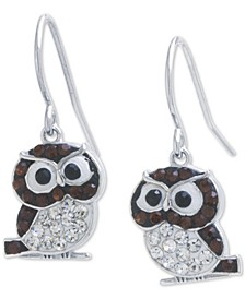 Crystal Owl Drop Earrings in Sterling Silver, Created for Macy's