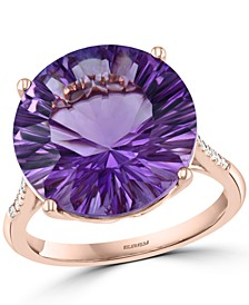 EFFY® Amethyst (8-7/8 ct. t.w.) & Diamond (1/20 ct. t.w.) Ring in 14k Rose Gold