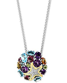 """EFFY® Multi-Gemstone (4-1/2 ct. t.w.) & Diamond (1/20 ct. t.w.) Starfish 18"""" Pendant Necklace in Sterling Silver & 18K Gold-Plate"""