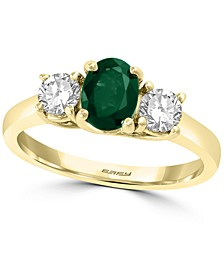 EFFY® Emerald (3/4 ct. t.w.) & White Sapphire (3/4 ct. t.w.) Ring in 14k Gold
