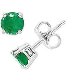 EFFY® Emerald Stud Earrings (7/8 ct. t.w.) in 14k White Gold