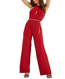 Madeline Chain-Embellished Halter Jumpsuit